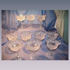 10 Fancy Cut Glass Champagne/Desert Stems