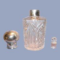 Large Crystal and Sterling Perfume/Cologne Bottle