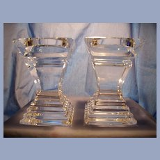 Pr Heavy Glass Pillar Candle Holders