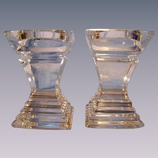 Pr Heavy Glass Pillar Candle Holders