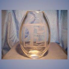 Orrefors Etched Oval Vase