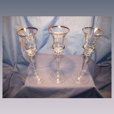 Set of 3 Gold Trimmed Crystal Candlesticks