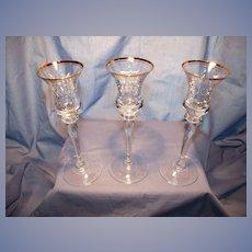 Set of 3 Gold Trimmed Crystal Candlesticks