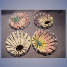 Set of 4 Signed Art Glass Mint Dishes