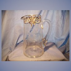 C. 1900 Cut Crystal Sterling Overlay Pitcher
