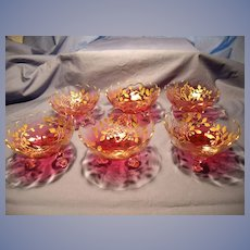6 Vintage Bohemian Glass Cranberry and Gold  Desserts