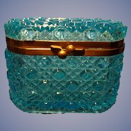 Blue Daisy and Button Glass Box