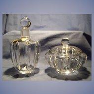 Orrefors Cut Crystal Cologne Bottle & Powder or Trinket  Box