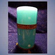 Cenedese Blue Opaline Glass & Gilt Casket or Humidor