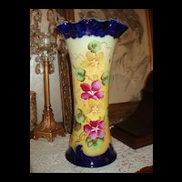 "Austrian 14"" Cobalt/Yellow Vase Lovely Violets/Petunias"