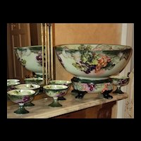 OE&G/Silesia Grape & Ivy Punch Bowl, Plinth and 5 Cups