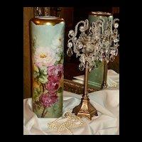 HUGE Limoges P.H. Leonard Vase with Stunning Roses and Heavy Gold Trim
