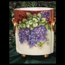 Bavaria HUGE Cache Pot Gorgeous Limoges Styled HP Lilacs/Violets