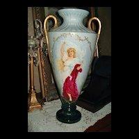 Belleek HUGE Vase with HP Portrait of Beautiful Maiden