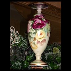 Belleek Large CAC Footed Vase with Gorgeous Pink/Yellow/Red Roses