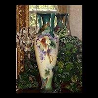 Huge Willets Belleek Signed Classic Mold Grapes Vase Amazing Colors