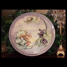 Marvelous Willets Belleek Large Tray with Purple and Red Grapes