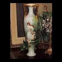 "Massive Willets Belleek 22.25"" Floor Vase Lovely Maiden, Cupids & Pink Roses"