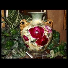 Belleek Rare Gold Cherub Handled Vase with Gorgeous Red and Pink Roses