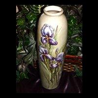 Willets Belleek Large Gorgeous Vase with Purple Bearded Iris