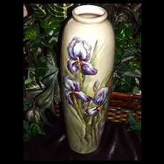 Willets Belleek Large Gorgeous Vase with Purple Bearded Iris