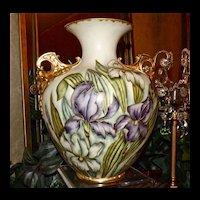 Belleek Fabulous Signed Cherub Handled Vase with Purple, White & Yellow Iris