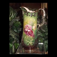 Willets Belleek Amazing Silver Overlay Pitcher with Gorgeous Crepe Paper Like Pink, Red and Yellow Poppies