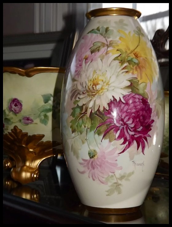 Willets Belleek Gorgeous Hand Painted Vase Signed By Master Artist