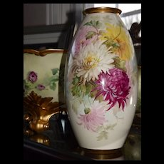 Willets Belleek Gorgeous Hand Painted Vase Signed by Master Artist Walter Marsh