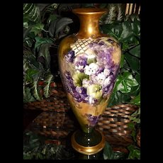 CAC (Ceramic Art Company) Belleek Vase with Hand Painted Purple and White Pansies/Violets and Heavy Gold