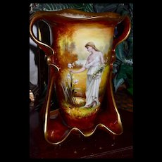 Huge Royal Bonn Hand Painted Signed Portrait Vase Unique Mold and Stunning Colors