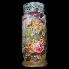 Colossal Royal Bonn Tapestry Scenic Floor Vase With Red/Pink/Yellow Roses and Heavy Gold Embellishment