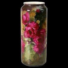 Willets Belleek Large Gorgeous Cylinder Vase Dramatic Ruby Red Roses Signed Pearle Stringer 1909