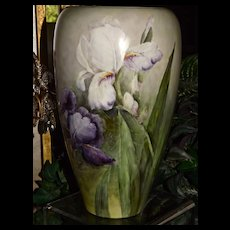 Willets Belleek Huge Vase with Spectacular Purple and White Bearded Iris