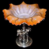 Victorian 1880's Brides Basket: Orange Art Glass Brides Bowl with Elaborate Gold Gilt and Hand Painted Floral Decor on Reed and Barton Winged Cherub Silver Plated Basket/Centerpiece