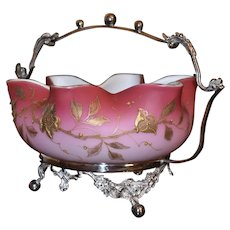 Brides Basket:  Mt Washington Peachblow Folded Brides Bowl with Marvelous Heavy Gold Raised Enamel Flowers Sitting in Quaint SP Brides Basket Adorned with Flower Garlands and Beaded Detailing