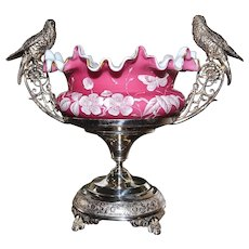 Brides Bowl: Spectacular Deep Coral Satin Brides Bowl with Gold Ruffled Edges and Magnificent White Floral and Butterfly Decor On Top of Wonderful J.B. Timberlake Silver Plated Twin Handled Basket Adorned with Feathered Birds