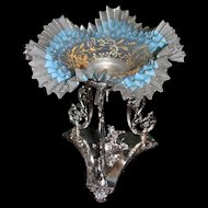 Brides Basket: Rogers Smith & Co. Brides Basket/Centerpiece Girl Riding Turtle and Three Intricately Winged Posts with Fabulous Accordian Pleated Satin Glass Brides Bowl with Robin Blue Inner Band Decorated with Raised Gold and Enamel Detailing