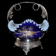 Brides Basket:  Rare Cobalt Blue Ruffled and Folded Edge Brides Bowl with Heavy Gold and Enamel Floral Decoration on All Sides Sitting on Rogers & Bros. Silver Plate Handled Basket.