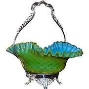 Brides Basket/Centerpiece: Rare Chartreuse and Blue Satin Mother of Pearl Diamond Quilt Brides Bowl Sitting in Lovely Silver Plated Forbes Basket