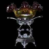 Brides Basket/Centerpiece:  Lovely Art Glass Iridescent Amber Square Brides Bowl with Magnificent Purple Ruffle and Yellow Enamel Bows and Beaded Flowers Sitting Atop Meridian Quadruple Plate Cherub Basket