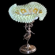 Brides Basket/Centerpiece: Yellow Satin Folded and Ruffled Cased Glass Melon Ribbed  Bowl with Intricate Enamel Flourish and Rose Decor Sitting Atop Barbour #249 Stand Featuring Full Figured Woman in Motion