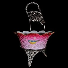 Brides Basket/Centerpiece: Thomas Webb Rare Pink Mother of Pearl Diamond Quilt Brides Bowl Petal Shaped Rim and Phenomenal Enamel Bird and Branch Decor Sitting in Barbour #202 SP Brides Basket with Floral Encrusted Handle