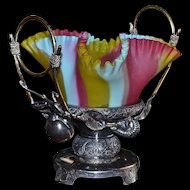 Brides Basket/Centerpiece: Lovely Rainbow Satin Art Glass Ruffled Brides Bowl with Four Crimped Sides Sitting in Apple Handled Acme Silver Plate Brides Basket