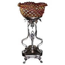 Brides Basket/Centerpiece: Hobbs Brockunier Stunning Amberina Swirl Brides Bowl in Dewdrop Design Sitting Atop Art Nouveau Meriden Silver Plate Winged Maiden Brides Basket/Centerpiece