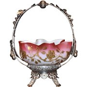 Brides Basket:  Gold Floral Encrusted Mt Washington Peachblow Brides Bowl Sitting in Grape and Ivy Decorated Middletown Handled Silver Plated Brides Basket