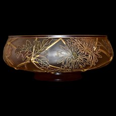 Mt Washington Royal Flemish Huge Important Rare Brides Bowl/Centerpiece Bowl Shape #533 with Chrysanthemum Decoration and Familiar Raised Gold Sectioning Detail