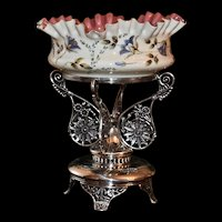 Brides Basket/Centerpiece:  Mt Washington Art Glass Brides Bowl Creamy White Exterior with Incredible Enamel Hand Painted Floral and Gold Decor Pink Interior Sitting in Glorious  Pairpoint Ornate Basket