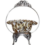 Brides Basket/Centerpiece: Large Rare Victorian Art Glass Amber TortoiseShell/Spatter Brides Bowl with Heavy Gold Leaf and Flower Decor Sitting in Ornate Barbour Basket with Bird Perched on Handle