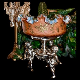 Brides Basket/Centerpiece: Webb Rare Gorgeous Tangerine Herringbone Mother of Pearl Brides Bowl with Robin Egg Blue Interior Decorated Inside and Out with Gold Gilt Enamel Floral Decor Sitting in Wilcox Triple Cherub Silver Plate Basket